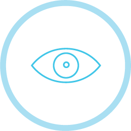 A blue icon with an open eye in the center.