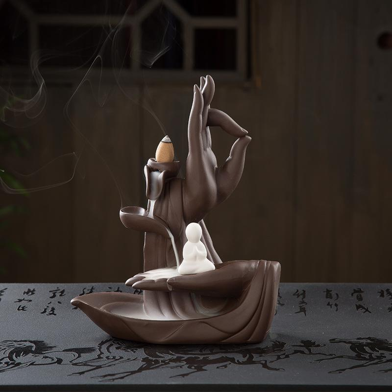 The Monk Hand Aromatherapy Waterfall Incense Burner for Gift, Home and Office