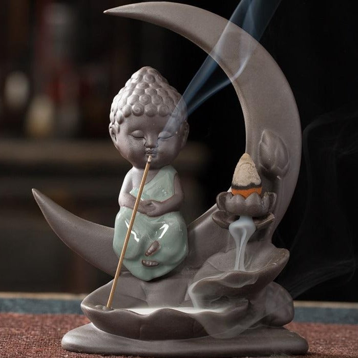 The Buddha/Moon 1 Aromatherapy Waterfall Incense Burner for Gift, Home and Office