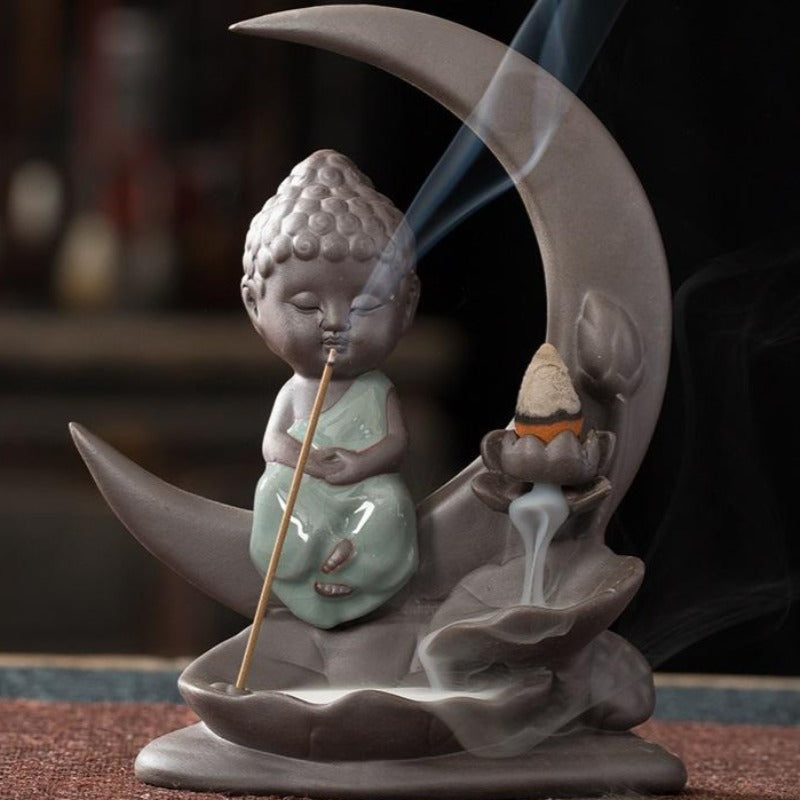 The Medditating Monk Aromatherapy Waterfall Incense Burner for Gift, Home and Office