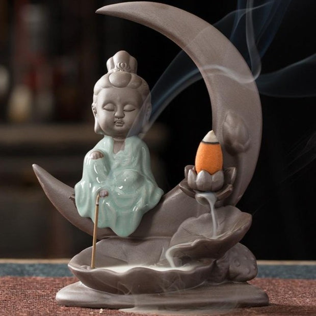 The Buddha/Moon 2 Aromatherapy Waterfall Incense Burner for Gift, Home and Office