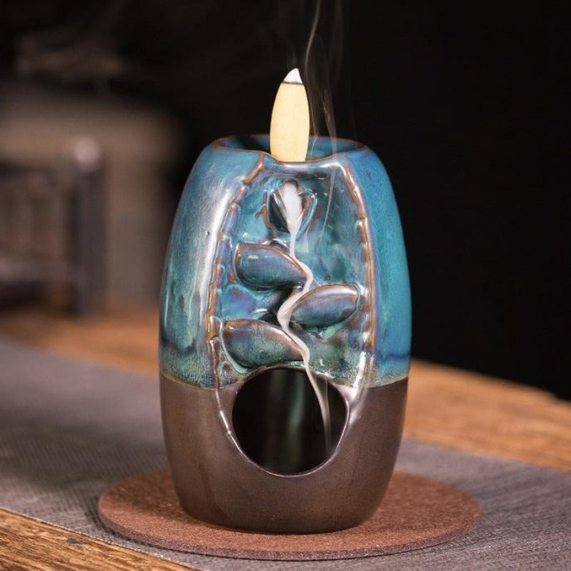 The Blue Candle Aromatherapy Waterfall Incense Burner for Gift, Home and Office