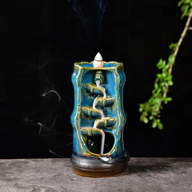 The Blue Bamboo Aromatherapy Waterfall Incense Burner for Gift, Home and Office