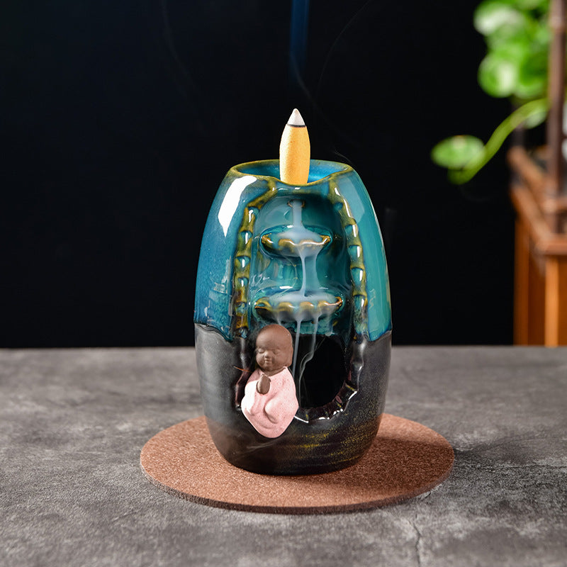 The Monk Blue Candle Aromatherapy Waterfall Incense Burner for Gift, Home and Office