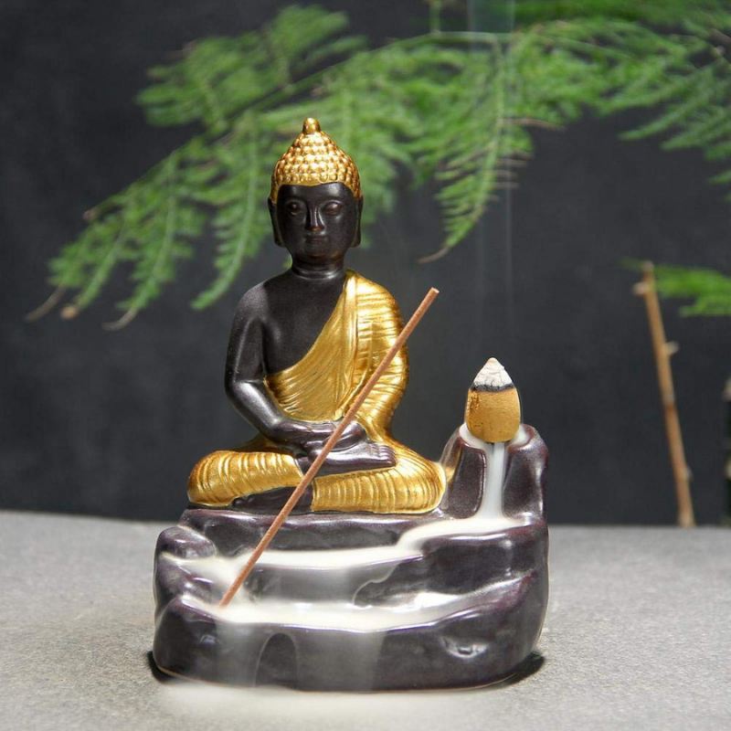 The Spiritual Golden Buddha Aromatherapy Waterfall Incense Burner for Gift, Home and Office