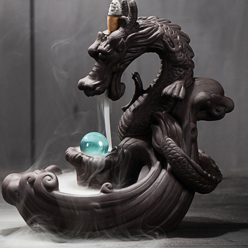Dragon with the Gem Aromatherapy Waterfall Incense Burner for Gift, Home and Office