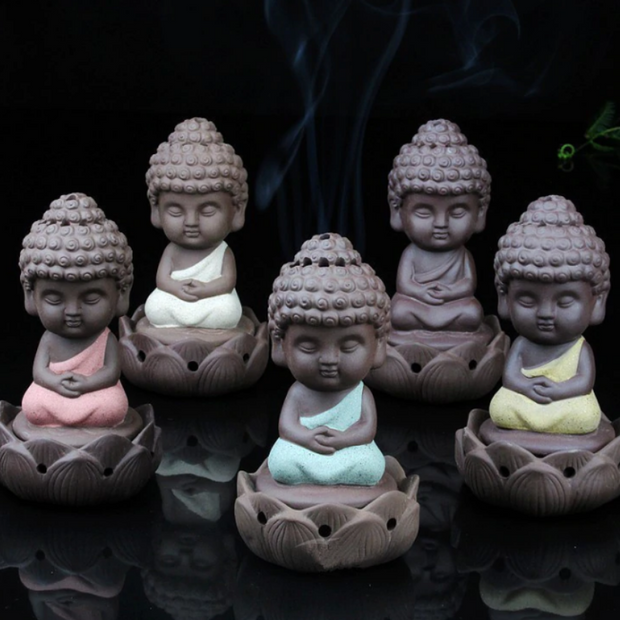 Set of 5 Little Buddhas Aromatherapy Waterfall Incense Burner for Gift, Home and Office