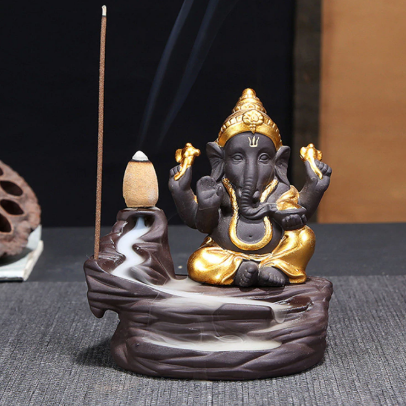 Little Ganesha Aromatherapy Waterfall Incense Burner for Gift, Home and Office