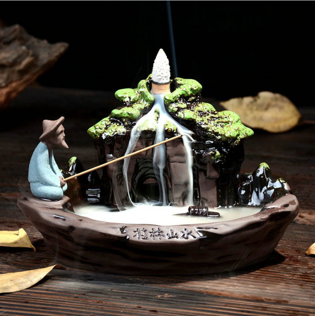 The Chinese Fisherman Aromatherapy Waterfall Incense Burner for Gift, Home and Office