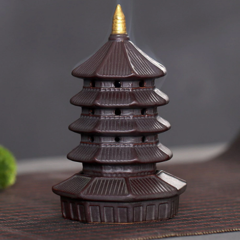 The Pagoda Tower Aromatherapy Waterfall Incense Burner for Gift, Home and Office