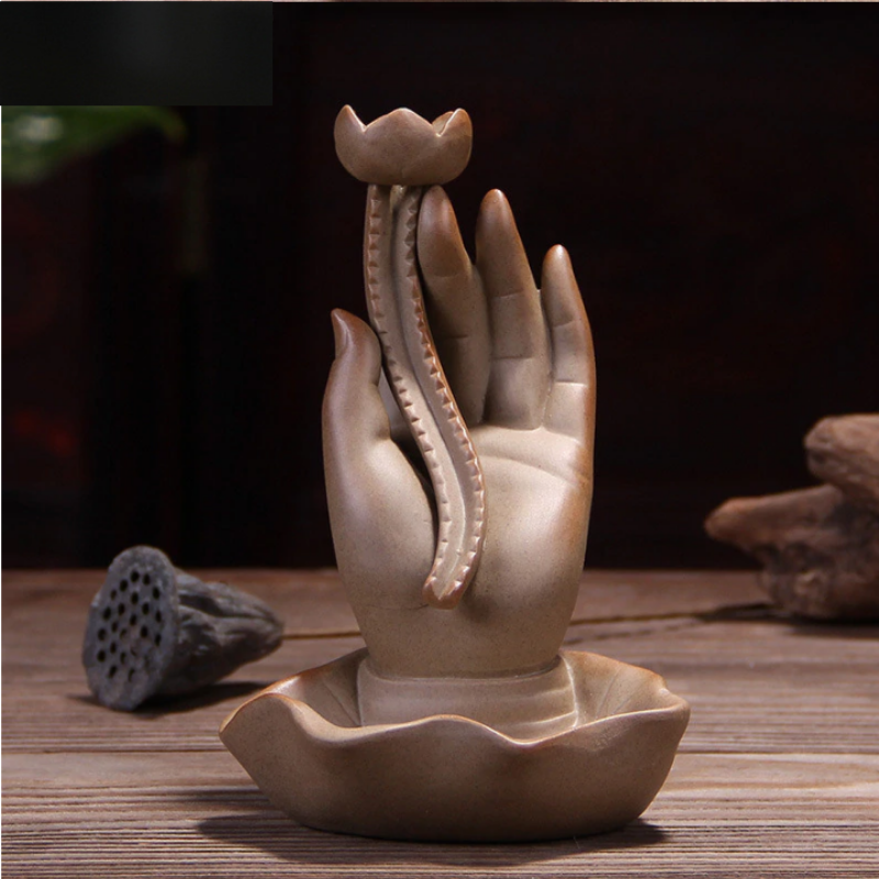 Blessing Buddha Hand Aromatherapy Waterfall Incense Burner for Gift, Home and Office