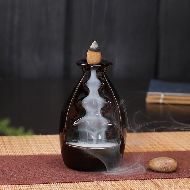The Black Sake Waterfall Aromatherapy Waterfall Incense Burner for Gift, Home and Office