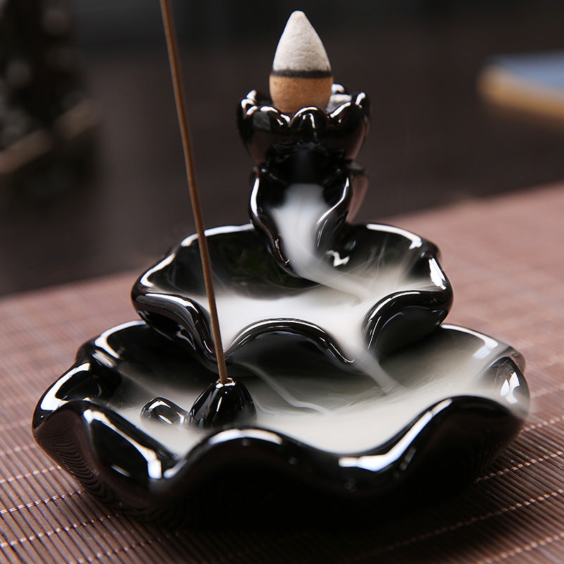The Double Layer Pond Aromatherapy Waterfall Incense Burner for Gift, Home and Office