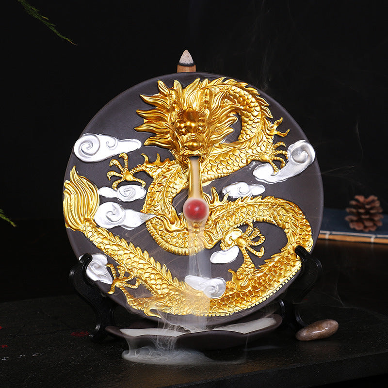 The Golden Dragon Aromatherapy Waterfall Incense Burner for Gift, Home and Office