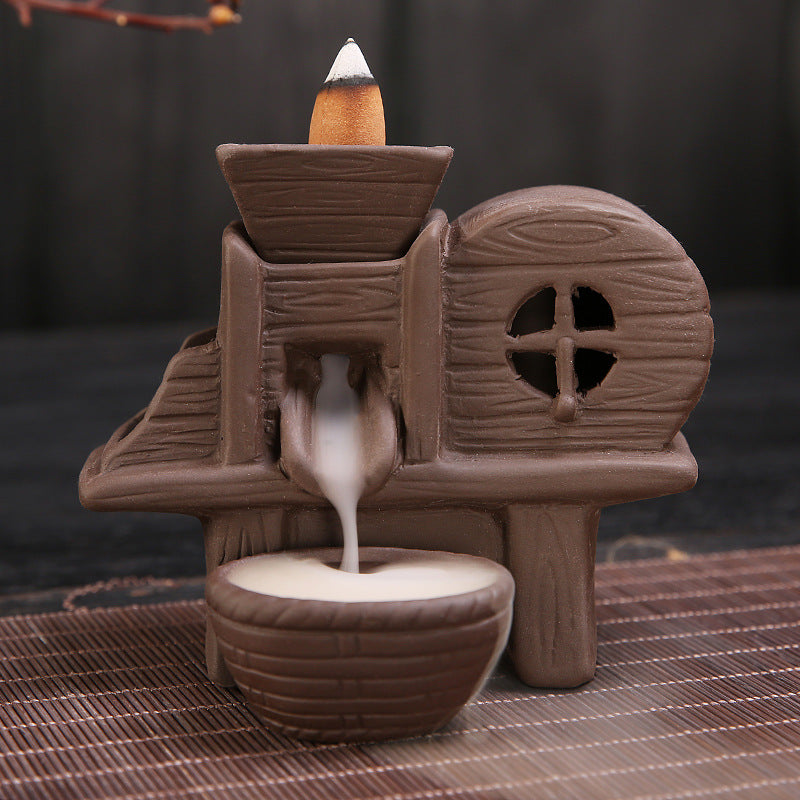 The Water Wheel Aromatherapy Waterfall Incense Burner for Gift, Home and Office