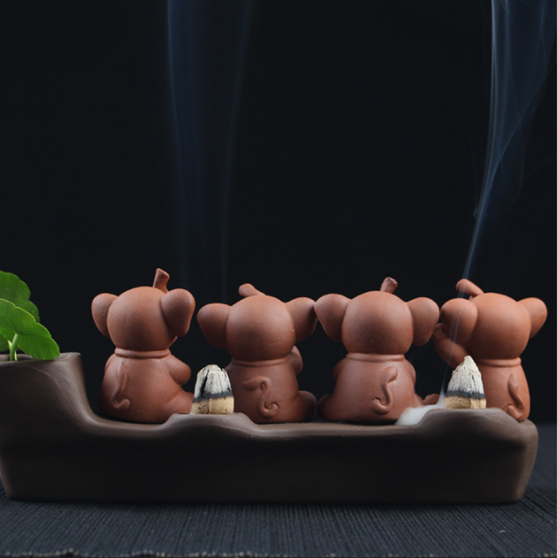 The Baby Elephants Aromatherapy Waterfall Incense Burner for Gift, Home and Office