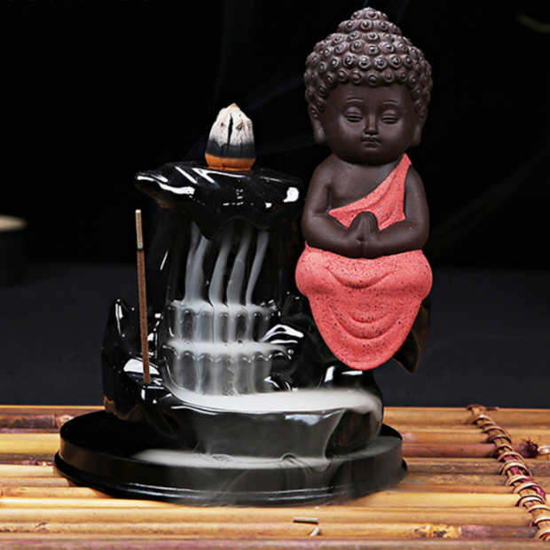 Peaceful Little Buddha Aromatherapy Waterfall Incense Burner for Gift, Home and Office