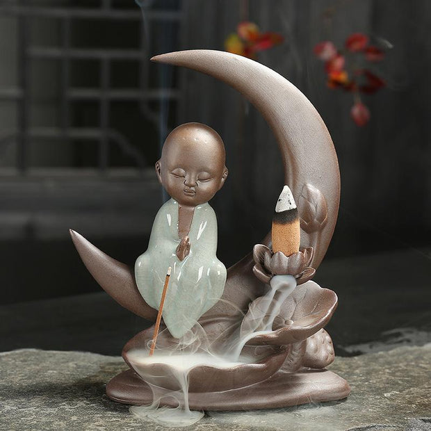 The Buddha on Moon Aromatherapy Waterfall Incense Burner for Gift, Home and Office