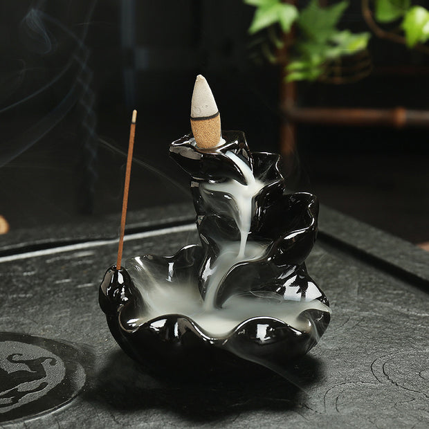 The Black Abstract Waterfall 3 Aromatherapy Waterfall Incense Burner for Gift, Home and Office