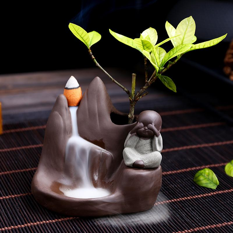 The Monk under Tree Aromatherapy Waterfall Incense Burner for Gift, Home and Office