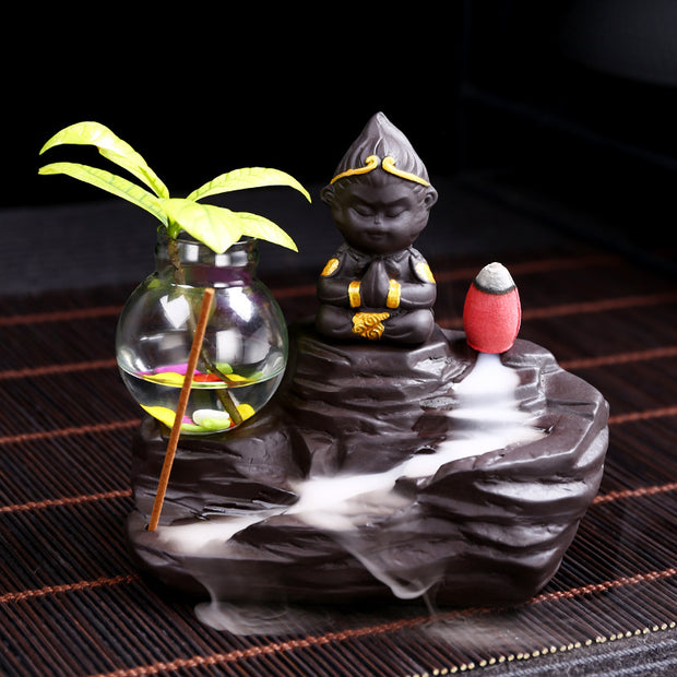 The Black Monk Palm Tree Aromatherapy Waterfall Incense Burner for Gift, Home and Office