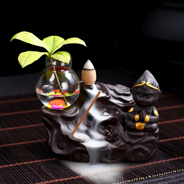 The Brown Monk/ Pot 1 Aromatherapy Waterfall Incense Burner for Gift, Home and Office