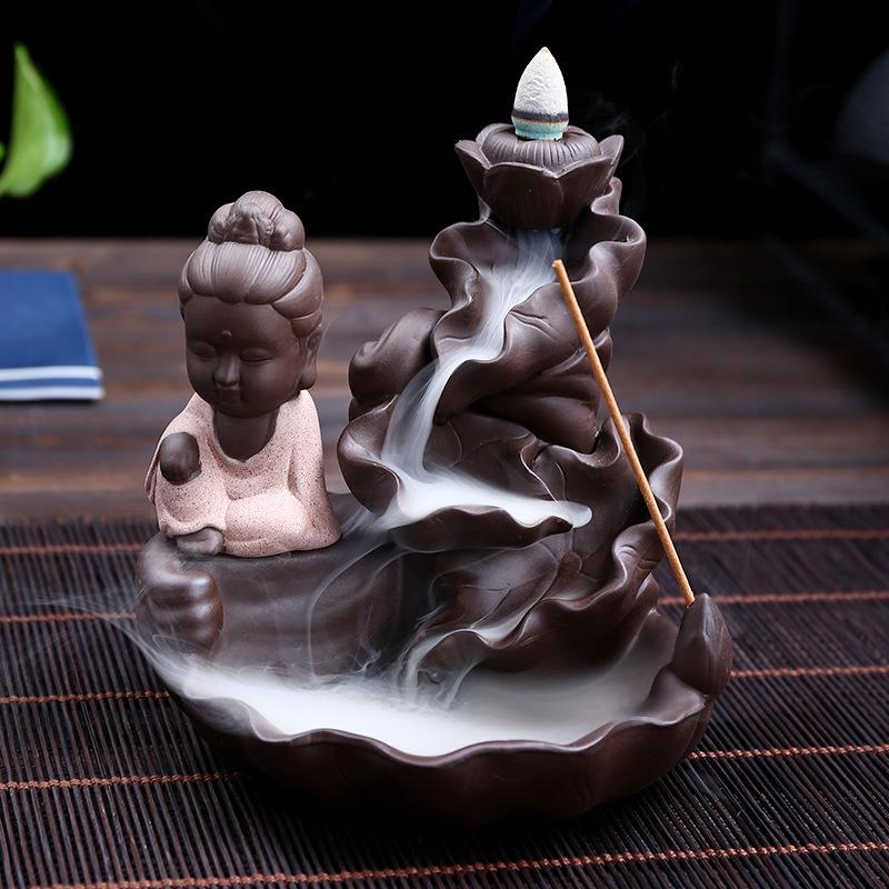 The Monk beside Fountain Aromatherapy Waterfall Incense Burner for Gift, Home and Office
