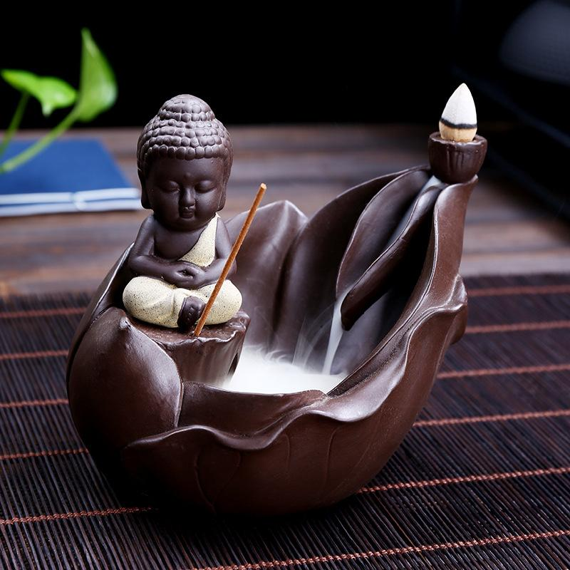 The Monk on Petal Aromatherapy Waterfall Incense Burner for Gift, Home and Office