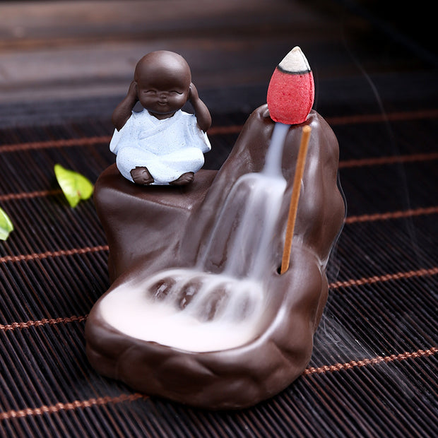 The Monk covering Ears Aromatherapy Waterfall Incense Burner for Gift, Home and Office
