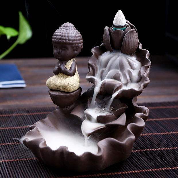 The Elder Monk Petal Layer Aromatherapy Waterfall Incense Burner for Gift, Home and Office