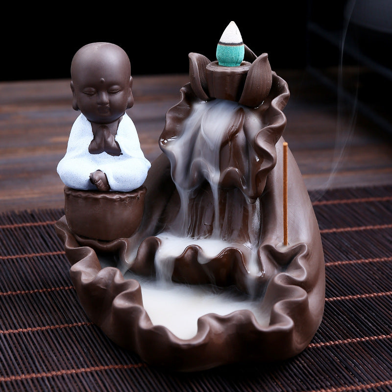 The White Monk Baggy Hill Aromatherapy Waterfall Incense Burner for Gift, Home and Office