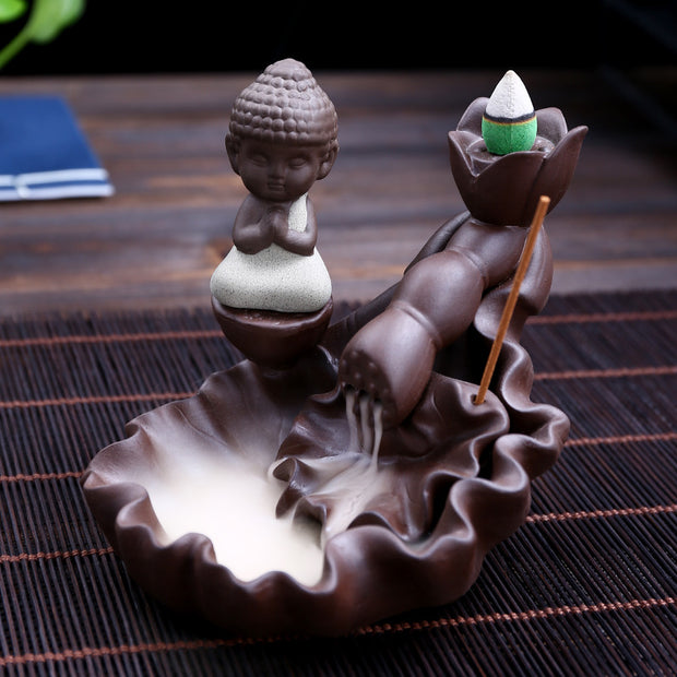 The Monk on Lotus Pond Aromatherapy Waterfall Incense Burner for Gift, Home and Office