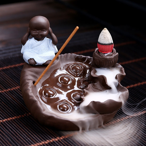 The Monk Beside Pearl Lake Aromatherapy Waterfall Incense Burner for Gift, Home and Office