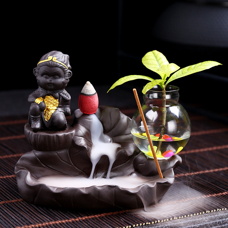 The Choco Monk/Pot Aromatherapy Waterfall Incense Burner for Gift, Home and Office