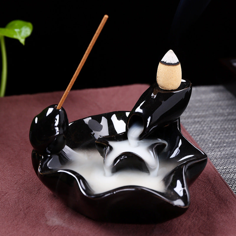 The Floating Leaf Aromatherapy Waterfall Incense Burner for Gift, Home and Office