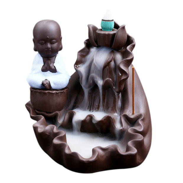 The White Monk Layer Waterfall Aromatherapy Waterfall Incense Burner for Gift, Home and Office