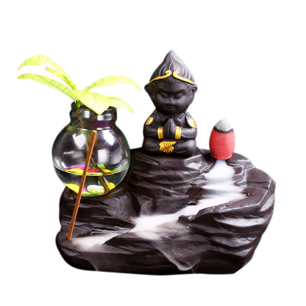 The Monk Palm Pot Aromatherapy Waterfall Incense Burner for Gift, Home and Office