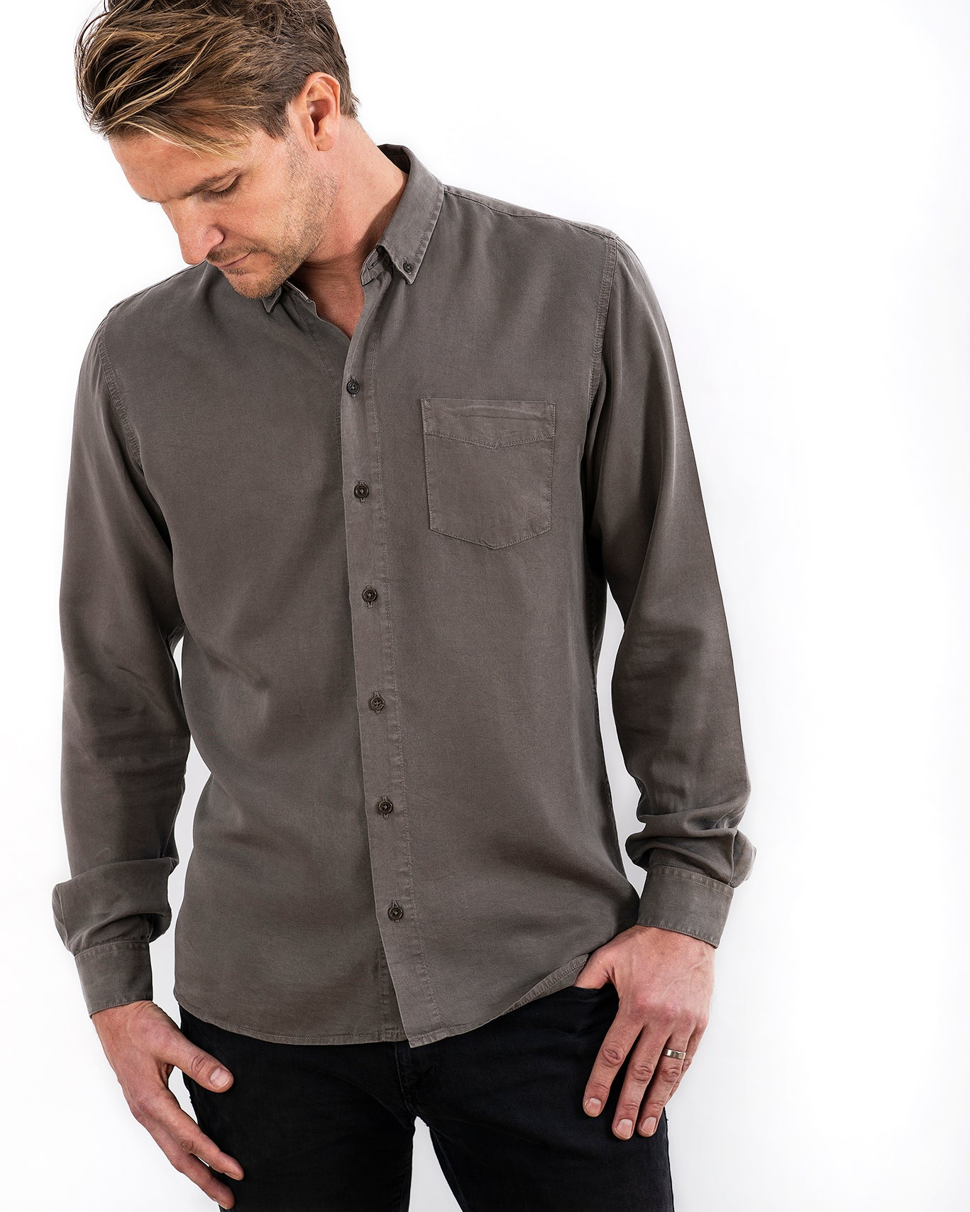 TENCEL SHIRT ARMY OLIVE