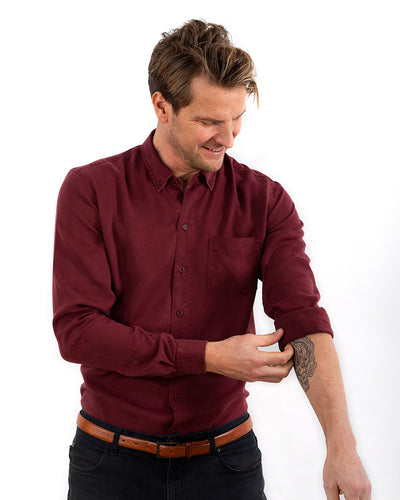 TENCEL SHIRT DEEP BURGUNDY