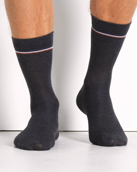 THE COTTON SOCK GREY MELANGE- 2 PACK