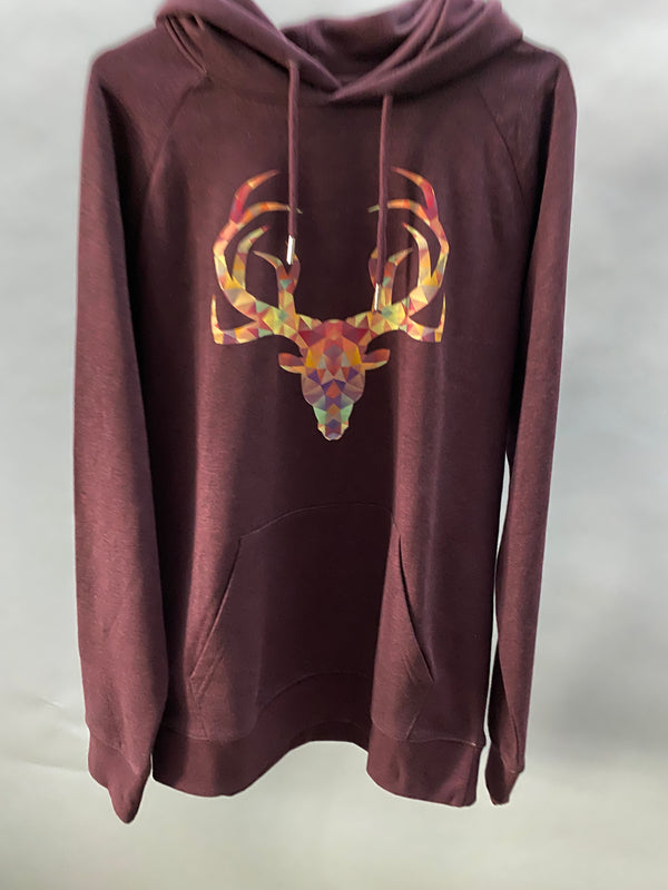 Deer | Unisex Hoodie Heather Grape Red Size L