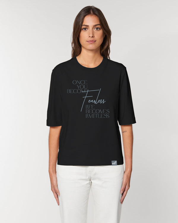 [#motivation] Once you become fearless | Dickes Boxy T-Shirt Damen