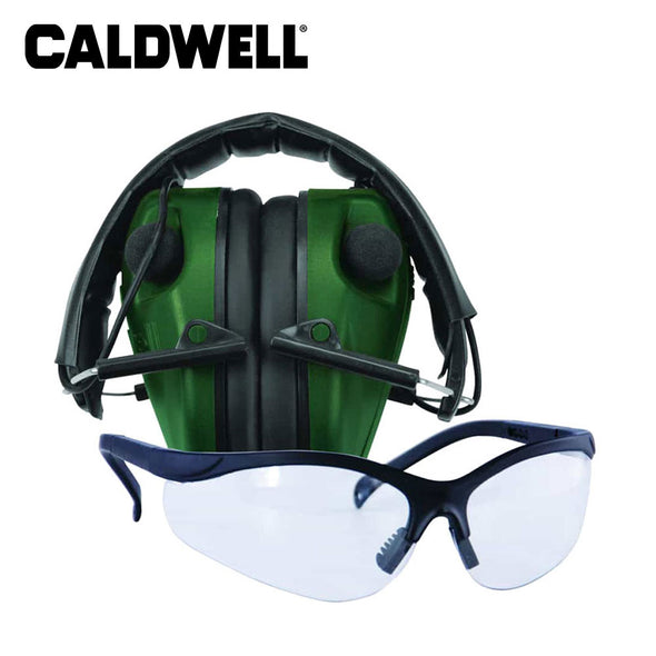 Caldwell E-Max Low Profile Electronic Hearing Protection Shooting Glasses Combo