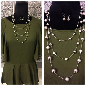 3 Layer Raindrop Earring & Necklace Set