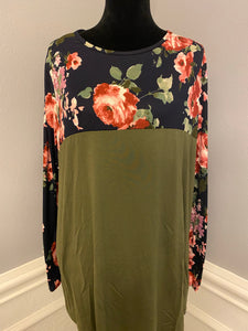 Fall Floral Button Lace Top