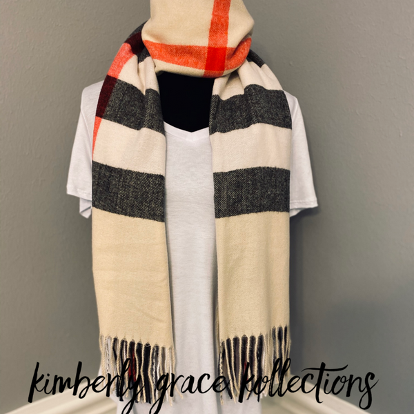 (Women) Wool Plaid Scarf