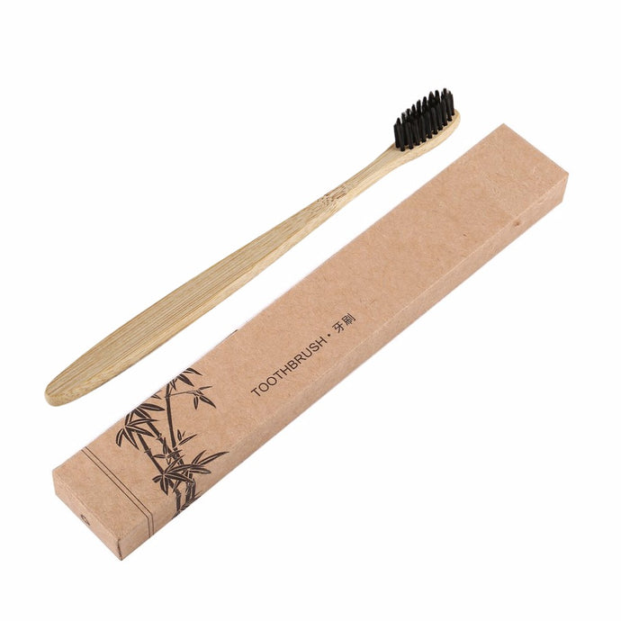 2pcs/Bamboo Handle Toothbrush Charcoal Bristles