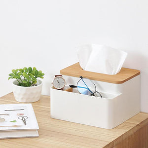 Bamboo Tissue Box Container