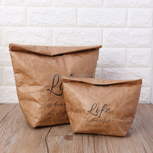 Kraft Paper Snack Lunch Bags Reusable insulated