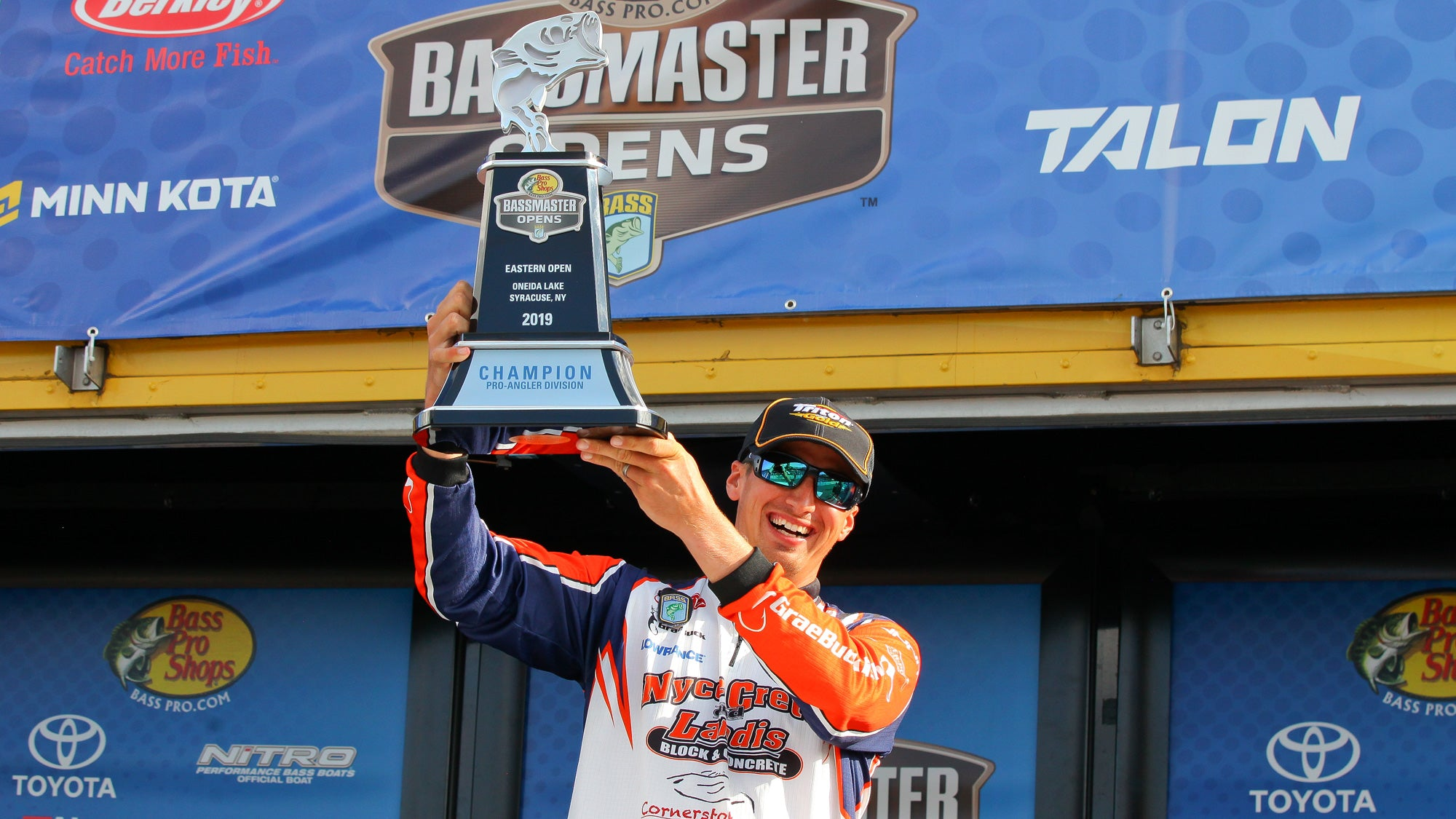 Grae Buck secures Bassmaster Classis Berth for 2020 by winning the BASS Open on Lake Oneida. Cornerstone Baits Logo on jersey for sponsorship purposes.